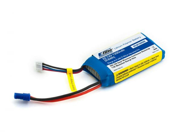 E-flite Li-Po Akku 1300mAh 2S 7,4V 20C 13 AWG EC2