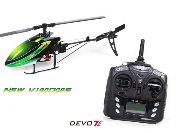 Walkera NEW V120D02S BNF Flybarless Micro 3D Heli mit deVention DEVO 7E