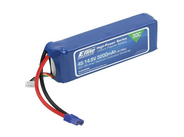 E-flite 3200mAh 4S 14.8V 30C LiPo 12AWG EC3