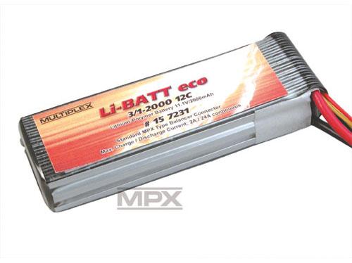 Multiplex Li-Po Akku 11,1V 2000mAh eco 3/1-2000 (M6)