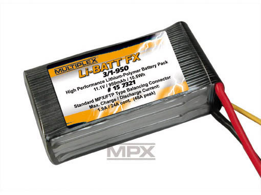 Multiplex Li-Po Akku 11,1V 950mAh FX 3/1-950 (M6)