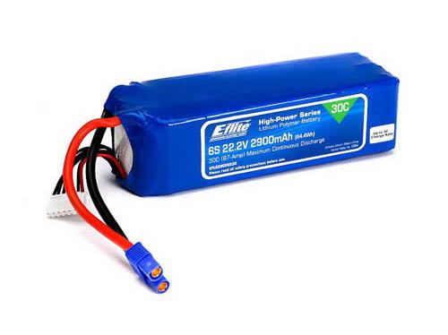 E-flite 2900mAh 6S 22.2V 30C LiPo 13AWG EC3