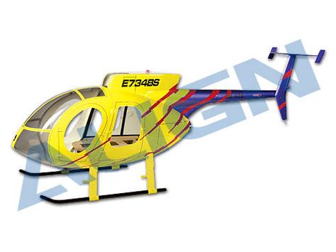 Align Hughes 500E Scale Rumpf gelb/blau T-Rex 600