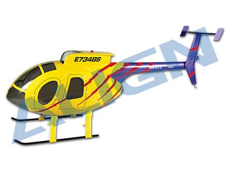 Align Hughes 500E Scale Rumpf gelb/blau T-Rex 500