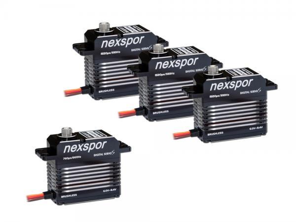 NEXSPOR Heli Servo Set 3x BLS4028S / 1x BLS4012T