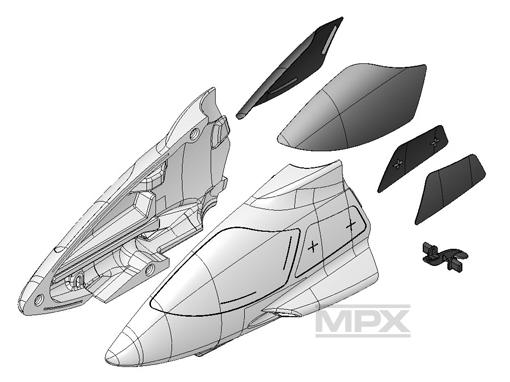Multiplex Rumpfverkleidung vorne + Scheiben FunCopter
