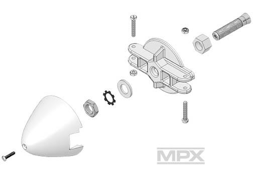 Multiplex Adapter, Blatthalter, Spinner 54mm für 5mm Welle