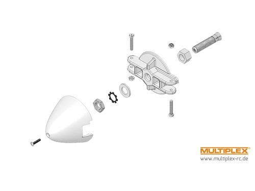 Multiplex Mitnehmer f. Motorw. 4mm, Blatthalter u. Spinner 54mm für EG PRO