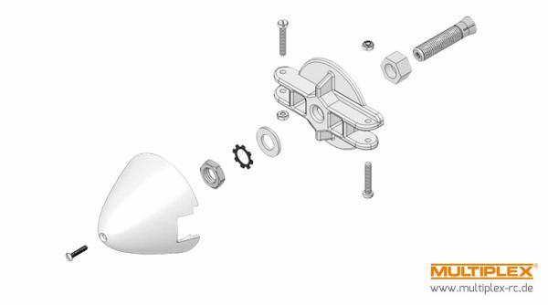 Multiplex Mitnehmer Motorw. 5mm, Blatthalter u. Spinner 39mm