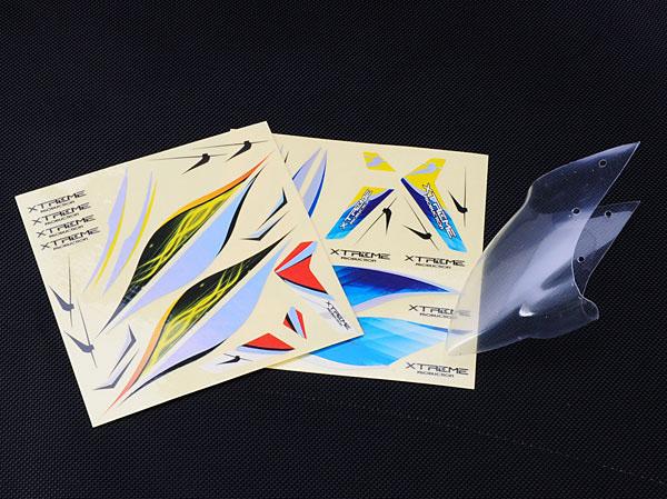 Xtreme Production mCPX Haube Type B transparent mit Dekorbogen
