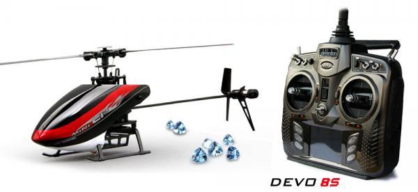 Walkera MINI CP Flybarless Micro 3D Heli mit deVention DEVO 8S