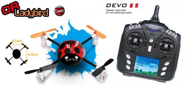 Walkera QR LadyBird BNF Mini Quadcopter mit deVention DEVO 6S (Bulk) Set