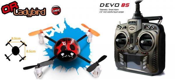 Walkera QR LadyBird BNF Mini Quadcopter mit deVention DEVO 8S (Bulk) Set
