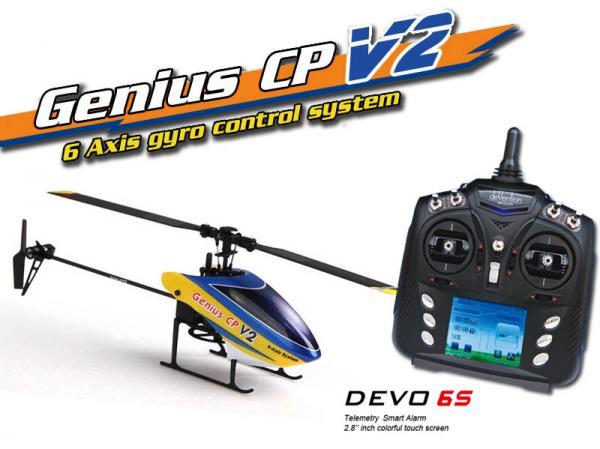 Walkera GENIUS CP V2 Flybarless Micro 3D Heli mit deVention DEVO 6S