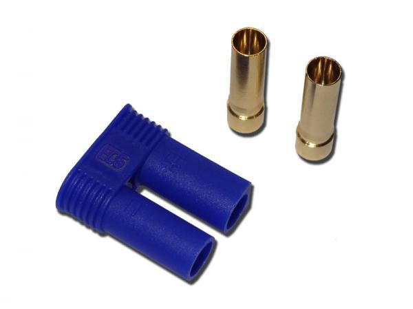 Goldkontakt Buchse 5mm mit Gehäuse blau EC5