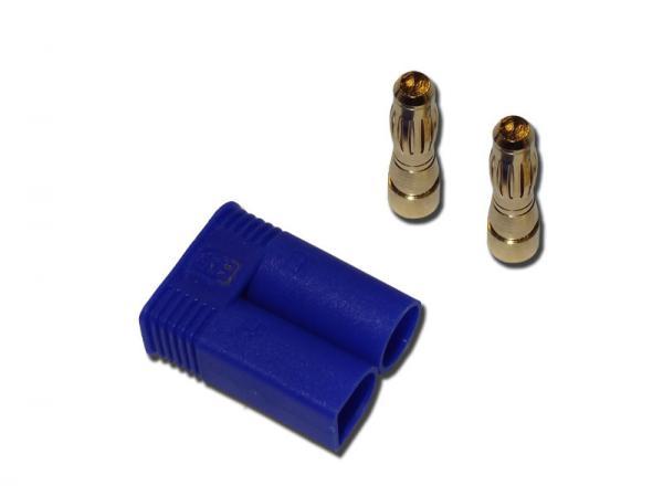 Goldkontakt Stecker 5mm mit Gehäuse blau EC5