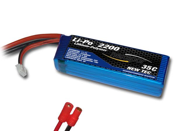 Nexspor NEW-TEC Li-Po Akku 11,1V 2200mAh 35C mit 3,5mm rot St
