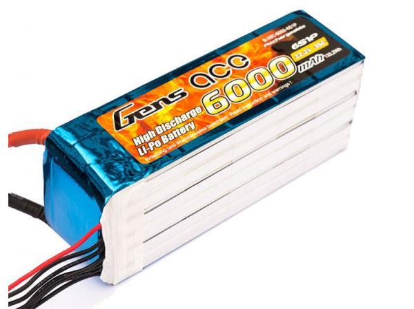 Gens ace 6000mAh 22.2V 35C 6S1P Lipo Akku Pack