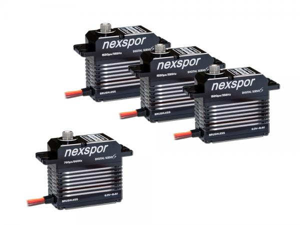 NEXSPOR Heli Servo Set 3x BLS4021S / 1x BLS4012T # BLS4021S-12T-SET