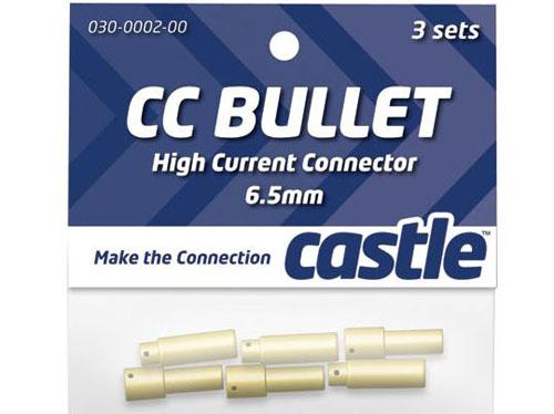 Castle Set mit 3Stk 6.5mm Goldsteckverbindungen (Stecker, Buchse)
