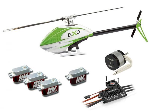 Compass EXO 500 with Motor, ESC, Servos and CF Rotorblades - Green