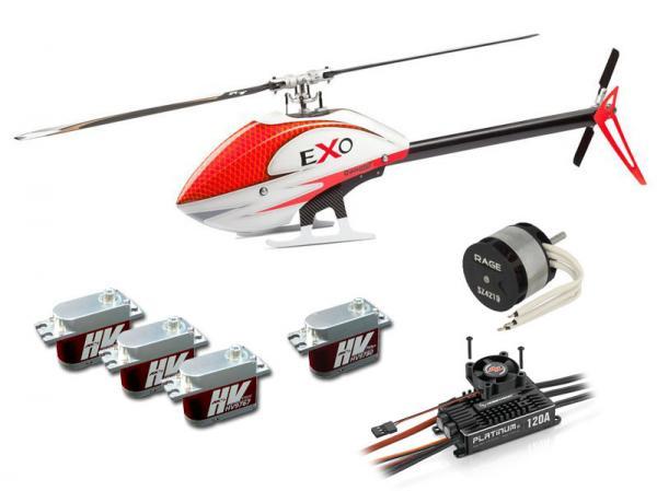 Compass EXO 500 mit Motor, Regler Servos und CF Rotorblätter - Rot # eXoR-CCRE