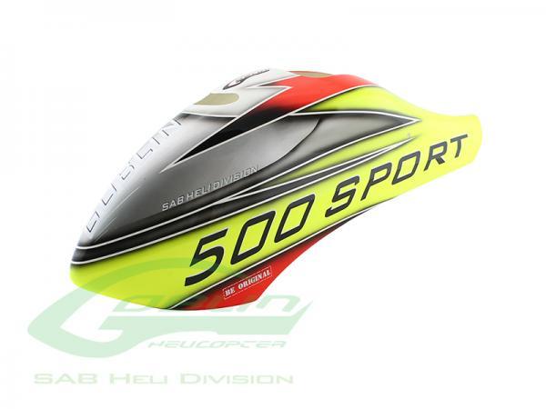 SAB Goblin 500 Sport Airbrush GFK Haube Gelb/Silber
