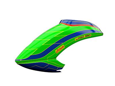 Mikado LOGO 550 Haube neon-grün/blau # 05171