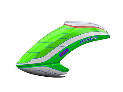 Mikado LOGO 550 Haube neon-grün/weiß