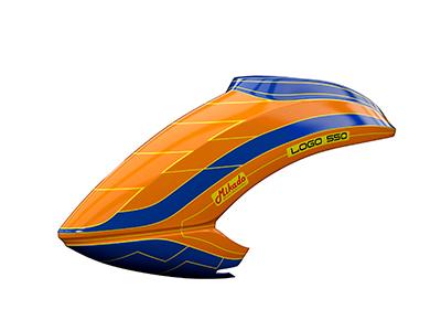 Mikado LOGO 550 Haube neon-orange/blau