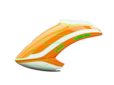 Mikado LOGO 550 Haube neon-orange/weiß