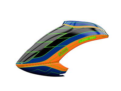 Mikado LOGO 550 Haube schwarz/blau/neon-orange