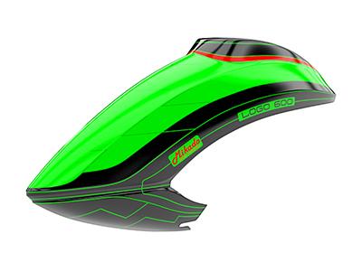 Mikado LOGO 600 Haube grün/schwarz