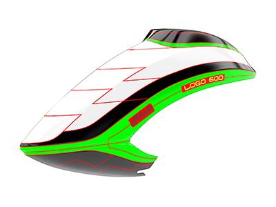 Mikado LOGO 600 Haube weiß/schwarz/grün