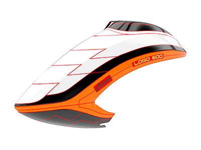 Mikado LOGO 600 Haube weiß/schwarz/orange
