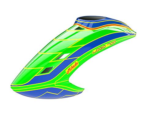 Mikado LOGO 700 Haube neon-grün/blau/neon-grün