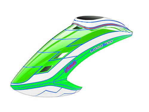 Mikado LOGO 700 Haube neon-grün/weiß/neon-grün
