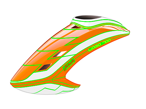 Mikado LOGO 700 Haube neon-orange/weiß/neon-orange