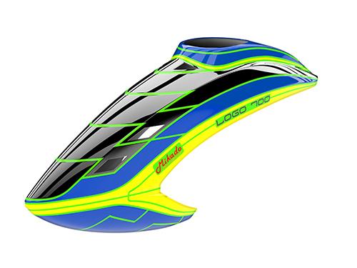 Mikado LOGO 700 Haube schwarz/blau/neon-gelb