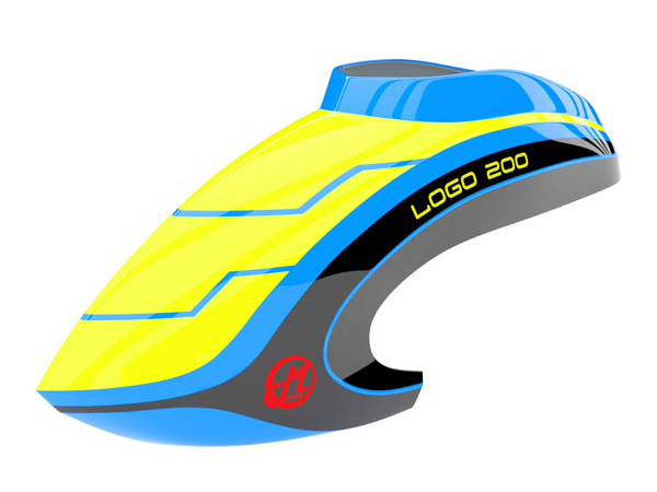 Mikado LOGO 200 Haube neon-gelb/blau/schwarz