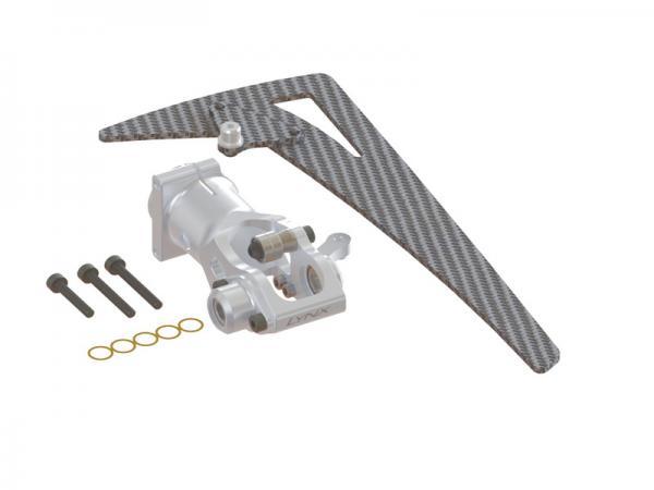 LYNX Blade 450X Alu Heckrotor-Getriebegehäuse und Carbon Leitwerk - silber