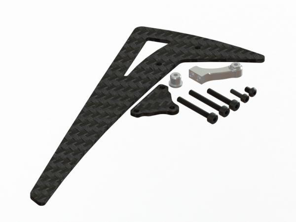 LYNX Blade 450X Carbon Leitwerk mit Alubefestigung - silber