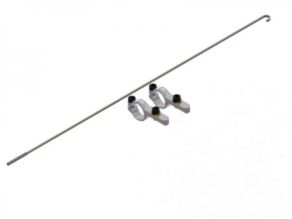 LYNX Blade 180 CFX Heckrohr Servohalterung mit Anlenkgestänge Originallänge - silber