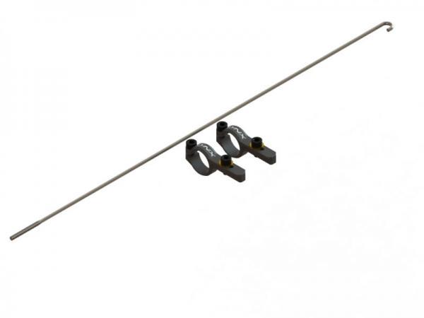 LYNX Blade 180 CFX Heckrohr Servohalterung mit Anlenkgestänge Originallänge - schwarz
