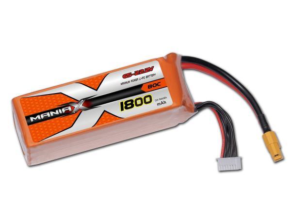 ManiaX LiPo 6S 1800mAh 22.2V Orange 80C