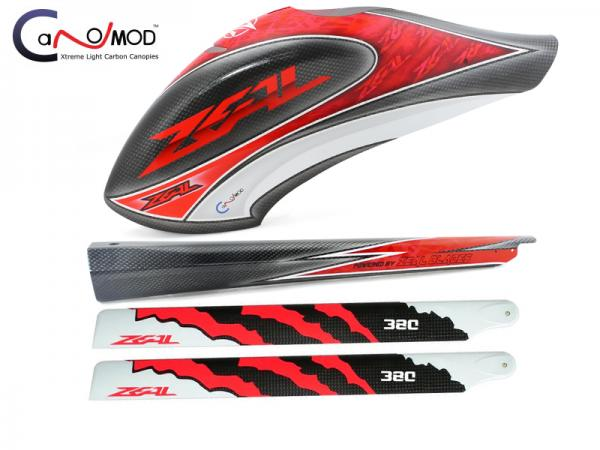 CANOMOD Zeal Canopy-Tail Boom-Main Blades Goblin 380 (Red)