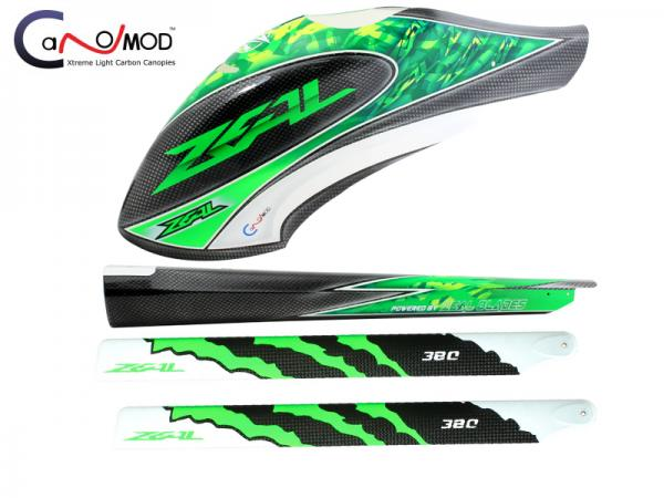 CANOMOD Zeal Canopy-Tail Boom-Main Blades Goblin 380 (Green)