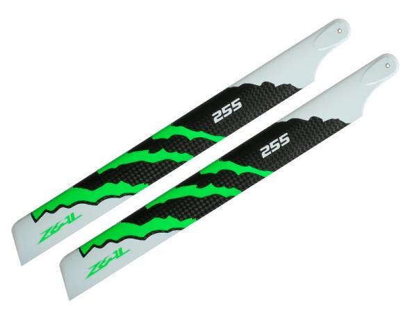ZEAL Carbon Hauptrotorblätter 255mm (grün)