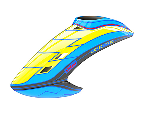 Mikado LOGO 700 Haube neon-gelb/blau/schwarz # 05148