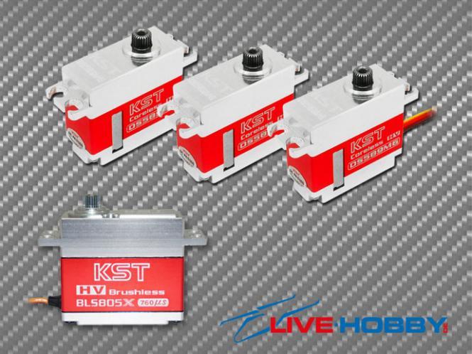 KST Servoset 3x DS589MG 1x BLS805X Digital mit Alu Gehäuse # DS589MG-BLS805X